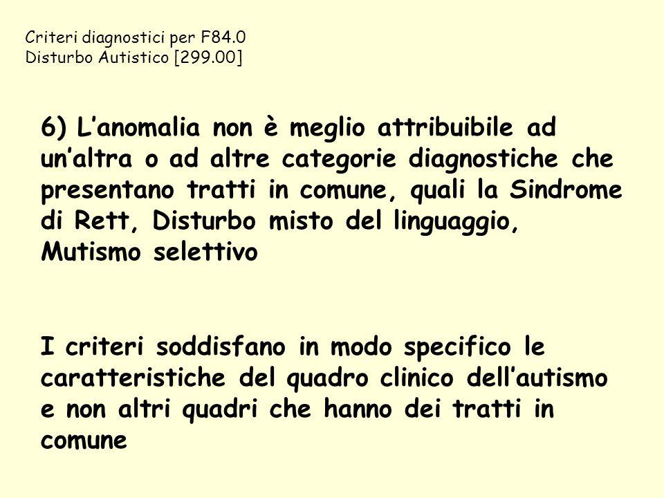 Criteri diagnostici per F84.0 Disturbo Autistico [299.00] 6) L'anomalia non è meglio attribuibile ad un'altra o ad altre categorie diagnostiche che pr