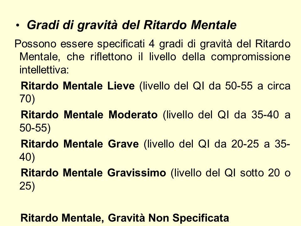 Gradi di gravità del Ritardo Mentale Possono essere specificati 4 gradi di gravità del Ritardo Mentale, che riflettono il livello della compromissione