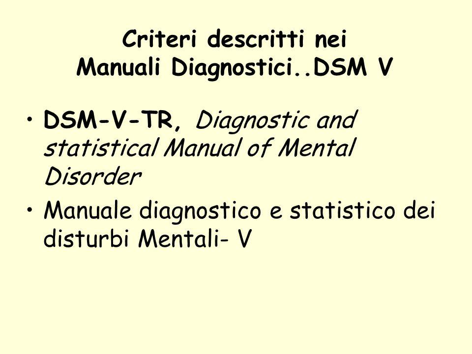 Criteri descritti nei Manuali Diagnostici..DSM V DSM-V-TR, Diagnostic and statistical Manual of Mental Disorder Manuale diagnostico e statistico dei d