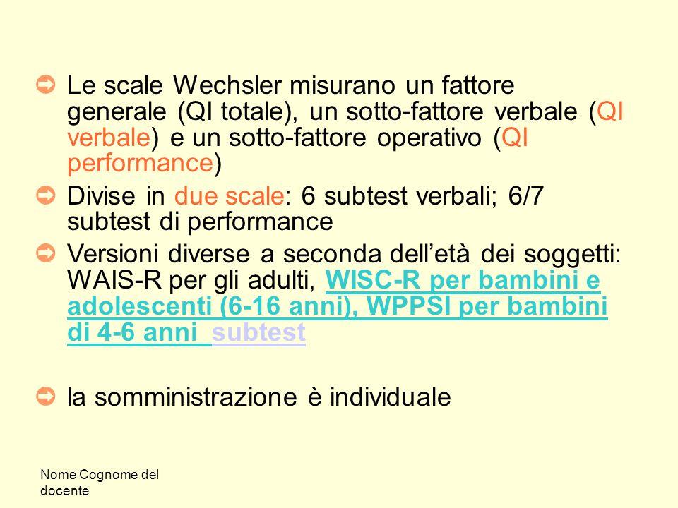 Nome Cognome del docente ➲ Le scale Wechsler misurano un fattore generale (QI totale), un sotto-fattore verbale (QI verbale) e un sotto-fattore operat