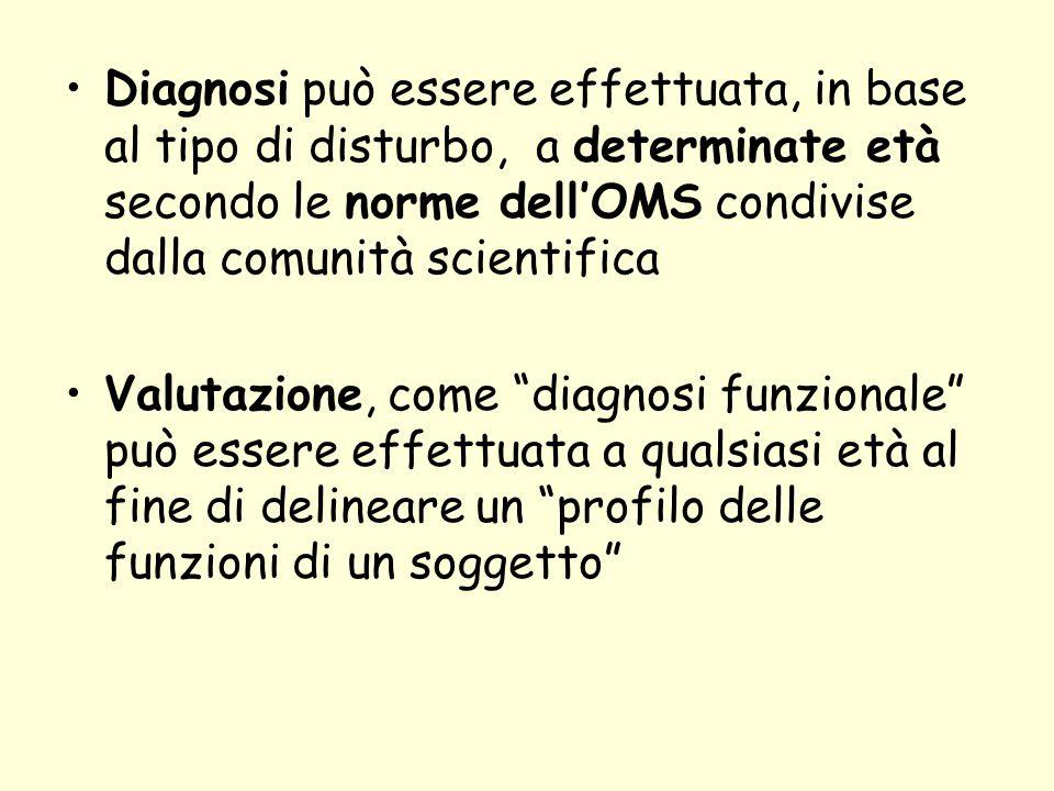 Diagnosi può essere effettuata, in base al tipo di disturbo, a determinate età secondo le norme dell'OMS condivise dalla comunità scientifica Valutazi