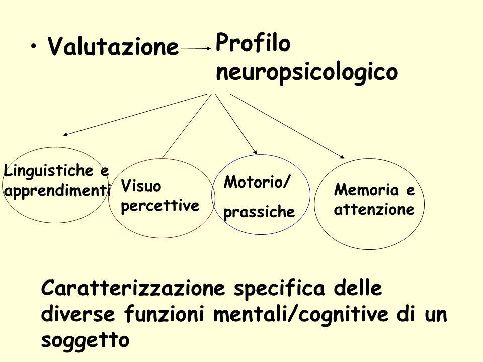 Valutazione Profilo neuropsicologico Linguistiche e apprendimenti Visuo percettive Motorio/ prassiche Memoria e attenzione Caratterizzazione specifica