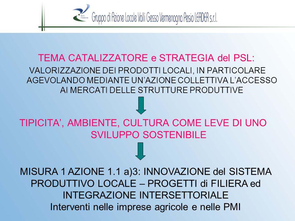 MISURA 1 AZIONE 1.1 a)3: PROGETTI di FILIERA ed INTEGRAZIONE INTERSETTORIALE - INVESTIMENTI NELLE IMPRESE FINALIZZATI ALL'INNOVAZIONE DI PRODOTTI e PROCESSI PRODUTTIVI RELAZIONE con TEMA CATALIZZATORE: L'AZIONE TRASFERISCE IN CONCRETO GLI OBIETTIVI DEL TEMA CATALIZZATORE CONSENTENDO DI MEGLIO ORGANIZZARE E DI MATERIALIZZARE LE RELAZIONI INTRASETTORIALI E INTERSETTORIALI TRA I DIVERSI SOGGETTI ATTORI DELLO SVILUPPO LOCALE.