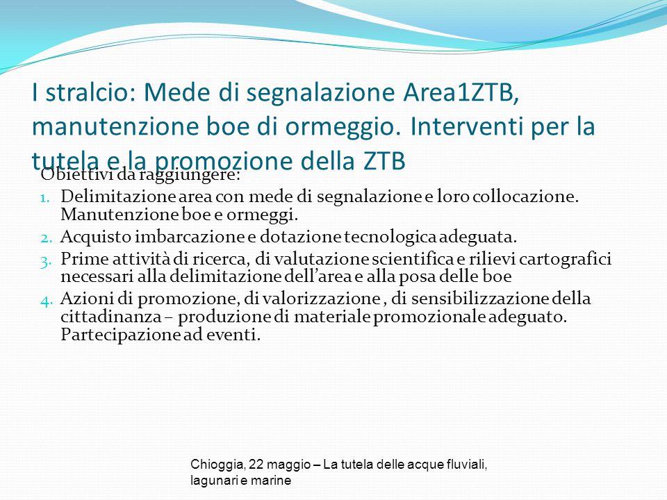 I stralcio: Mede di segnalazione Area1ZTB, manutenzione boe di ormeggio. Interventi per la tutela e la promozione della ZTB Obiettivi da raggiungere: