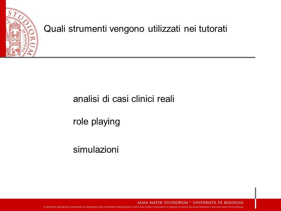 Quali strumenti vengono utilizzati nei tutorati analisi di casi clinici reali role playing simulazioni