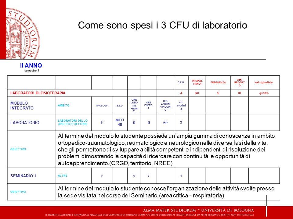 Come sono spesi i 3 CFU di laboratorio II ANNO semestre 1 C.F.U.