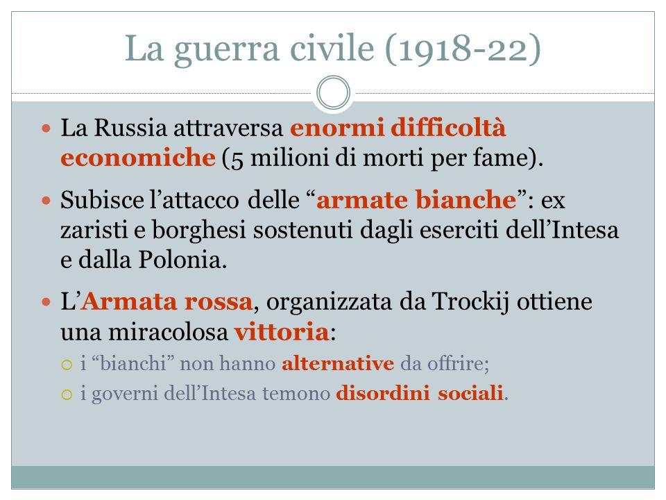 """La guerra civile (1918-22) La Russia attraversa enormi difficoltà economiche (5 milioni di morti per fame). Subisce l'attacco delle """"armate bianche"""":"""