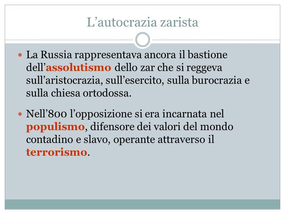 L'autocrazia zarista La Russia rappresentava ancora il bastione dell'assolutismo dello zar che si reggeva sull'aristocrazia, sull'esercito, sulla buro
