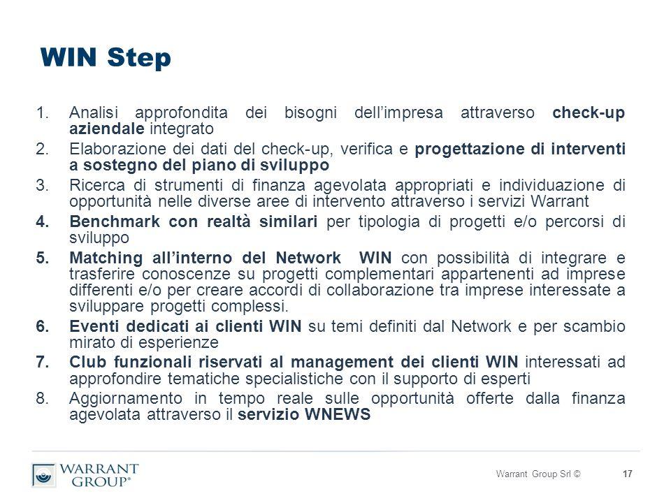 WIN Step 1.Analisi approfondita dei bisogni dell'impresa attraverso check-up aziendale integrato 2.Elaborazione dei dati del check-up, verifica e progettazione di interventi a sostegno del piano di sviluppo 3.Ricerca di strumenti di finanza agevolata appropriati e individuazione di opportunità nelle diverse aree di intervento attraverso i servizi Warrant 4.Benchmark con realtà similari per tipologia di progetti e/o percorsi di sviluppo 5.Matching all'interno del Network WIN con possibilità di integrare e trasferire conoscenze su progetti complementari appartenenti ad imprese differenti e/o per creare accordi di collaborazione tra imprese interessate a sviluppare progetti complessi.