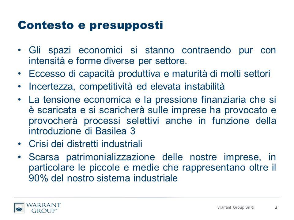 Contesto e presupposti Gli spazi economici si stanno contraendo pur con intensità e forme diverse per settore.