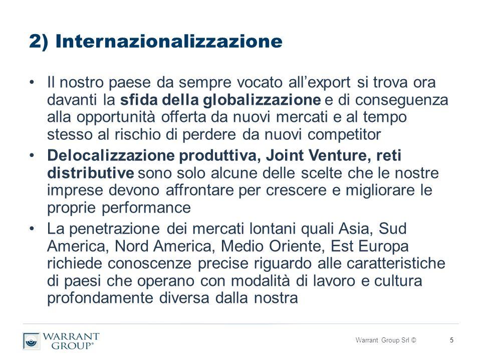 2) Internazionalizzazione Il nostro paese da sempre vocato all'export si trova ora davanti la sfida della globalizzazione e di conseguenza alla opportunità offerta da nuovi mercati e al tempo stesso al rischio di perdere da nuovi competitor Delocalizzazione produttiva, Joint Venture, reti distributive sono solo alcune delle scelte che le nostre imprese devono affrontare per crescere e migliorare le proprie performance La penetrazione dei mercati lontani quali Asia, Sud America, Nord America, Medio Oriente, Est Europa richiede conoscenze precise riguardo alle caratteristiche di paesi che operano con modalità di lavoro e cultura profondamente diversa dalla nostra Warrant Group Srl ©5
