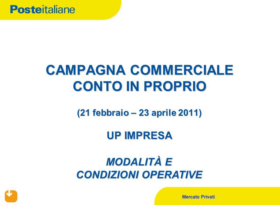 Mercato Privati CAMPAGNA COMMERCIALE CONTO IN PROPRIO (21 febbraio – 23 aprile 2011) UP IMPRESA MODALITÀ E CONDIZIONI OPERATIVE