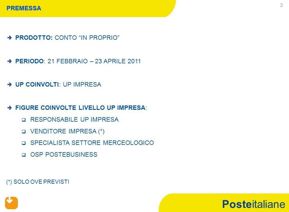 """Posteitaliane 2 PREMESSA PRODOTTO: CONTO """"IN PROPRIO"""" PERIODO: 21 FEBBRAIO – 23 APRILE 2011 UP COINVOLTI: UP IMPRESA FIGURE COINVOLTE LIVELLO UP IMPRE"""