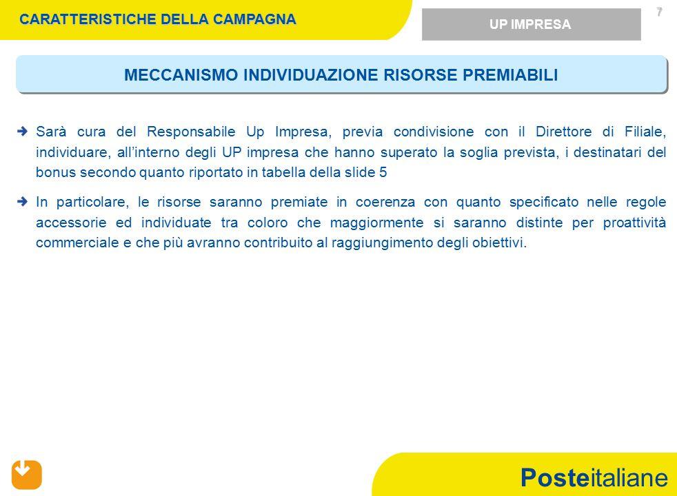Posteitaliane  Partecipa alla campagna commerciale Conto in Proprio (21 febbraio – 23 aprile 2011) il personale con rapporto di lavoro a tempo indeterminato e applicato, nell'ambito dell'unità organizzativa di appartenenza, sui ruoli coinvolti nel presente sistema di incentivazione.