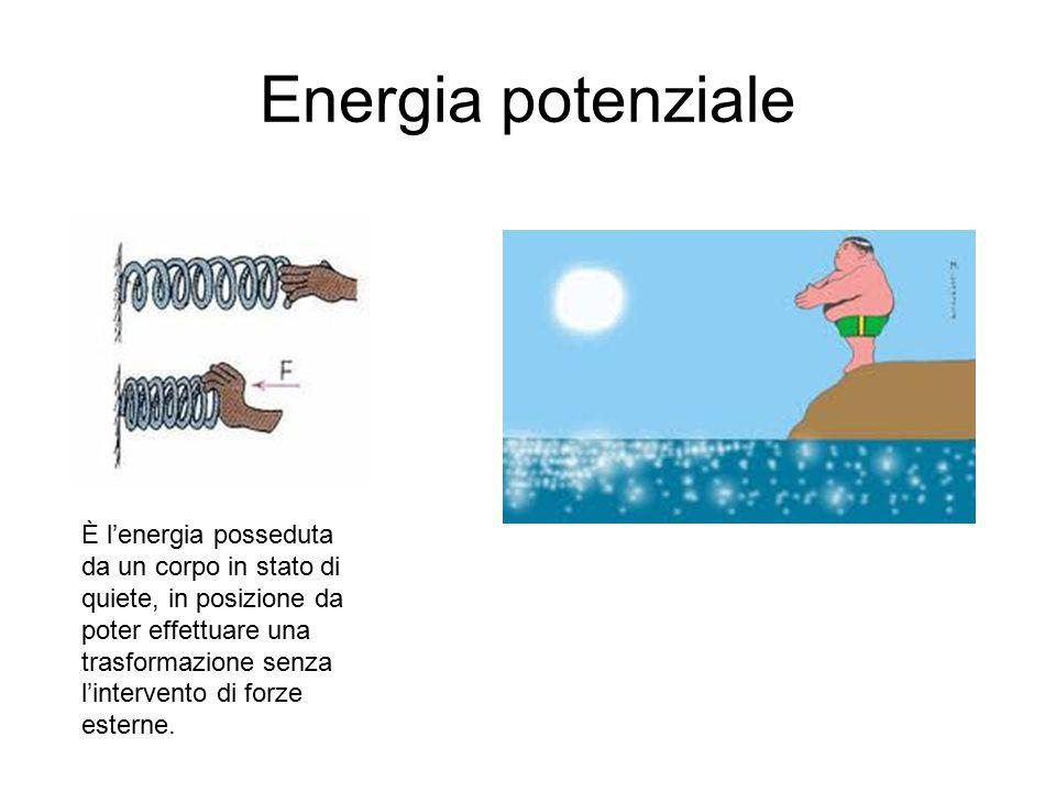 Energia potenziale È l'energia posseduta da un corpo in stato di quiete, in posizione da poter effettuare una trasformazione senza l'intervento di for
