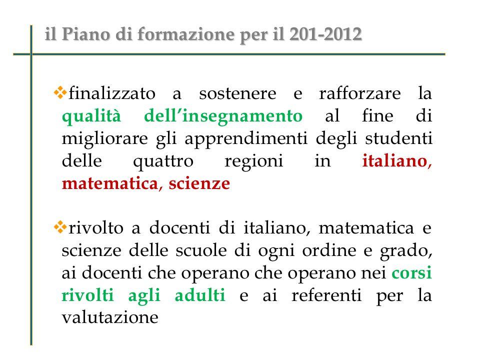  Interventi di tipo A : referenti della valutazione delle scuole del Primo e Secondo Ciclo,  gruppi di docenti di Italiano e Matematica della scuola secondaria di primo e secondo grado.