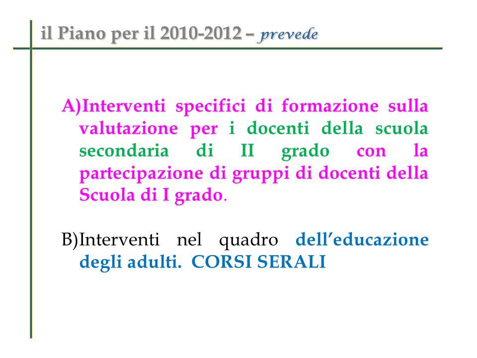 A)Interventi specifici di formazione sulla valutazione per i docenti della scuola secondaria di II grado con la partecipazione di gruppi di docenti della Scuola di I grado.