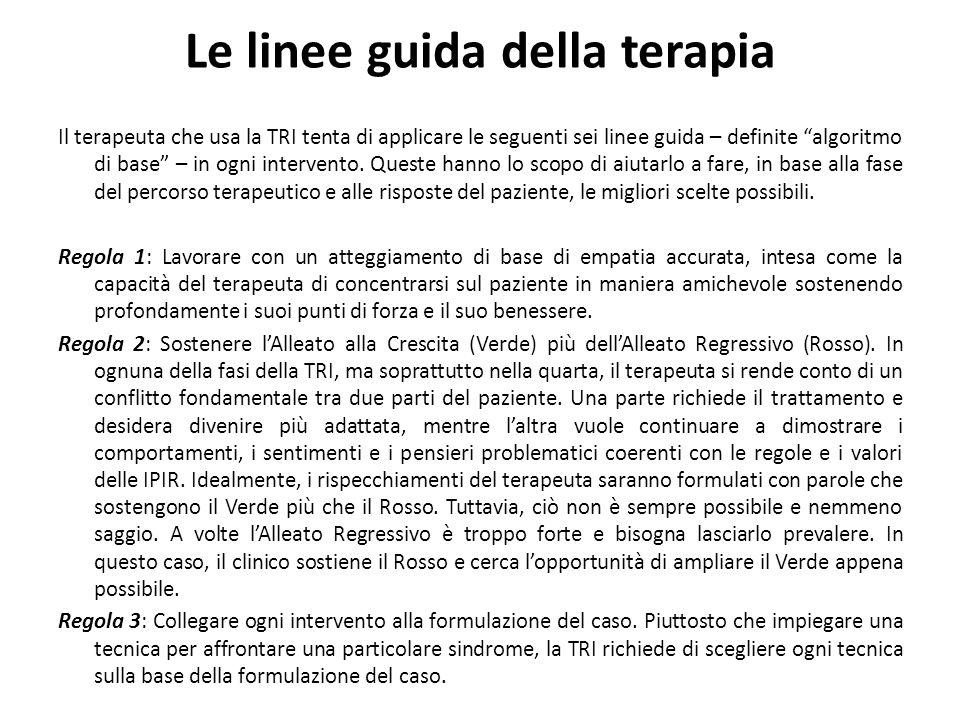 Le linee guida della terapia Il terapeuta che usa la TRI tenta di applicare le seguenti sei linee guida – definite algoritmo di base – in ogni intervento.