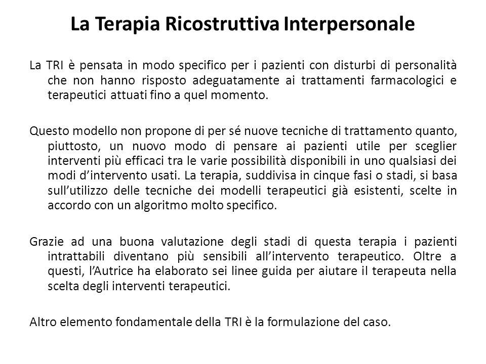 La Terapia Ricostruttiva Interpersonale La TRI è pensata in modo specifico per i pazienti con disturbi di personalità che non hanno risposto adeguatamente ai trattamenti farmacologici e terapeutici attuati fino a quel momento.