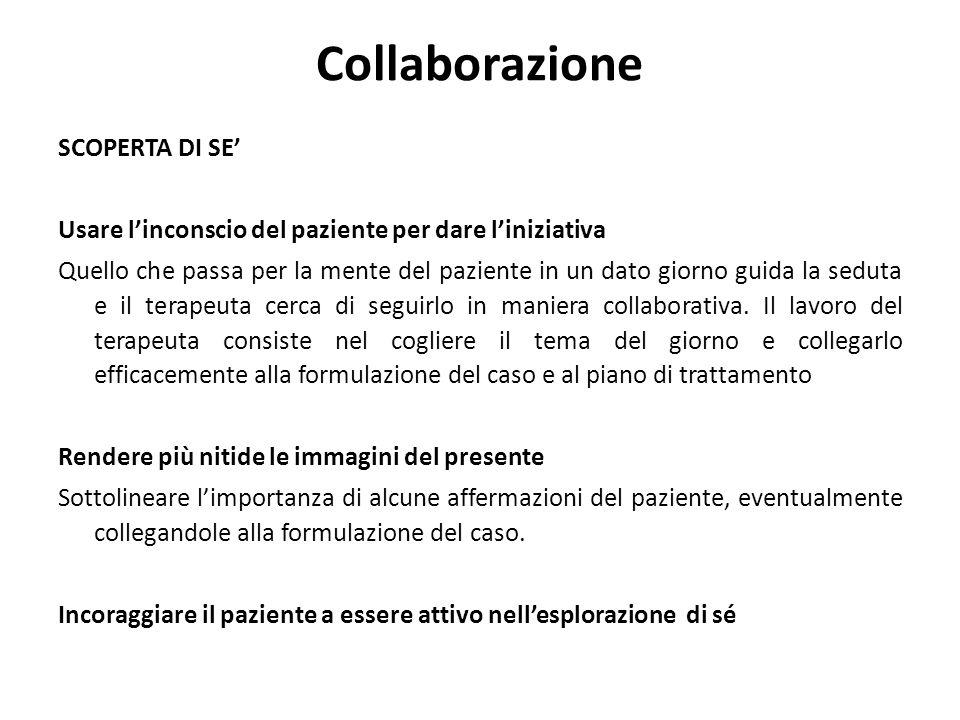 Collaborazione SCOPERTA DI SE' Usare l'inconscio del paziente per dare l'iniziativa Quello che passa per la mente del paziente in un dato giorno guida la seduta e il terapeuta cerca di seguirlo in maniera collaborativa.