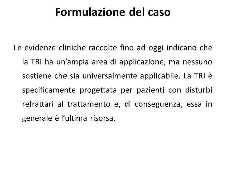 Le evidenze cliniche raccolte fino ad oggi indicano che la TRI ha un'ampia area di applicazione, ma nessuno sostiene che sia universalmente applicabile.