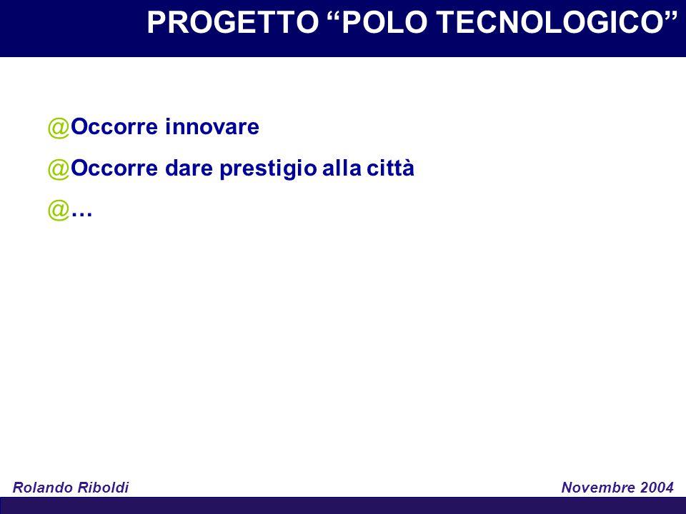 """PROGETTO """"POLO TECNOLOGICO"""" Rolando Riboldi Novembre 2004 @Occorre innovare @Occorre dare prestigio alla città @…"""