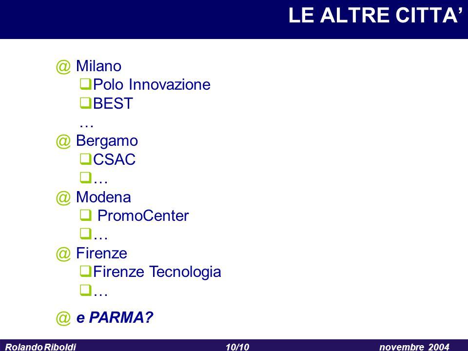 10/10 Rolando Riboldinovembre 2004 LE ALTRE CITTA' @ Milano  Polo Innovazione  BEST … @ Bergamo  CSAC  … @ Modena  PromoCenter  … @ Firenze  Fi