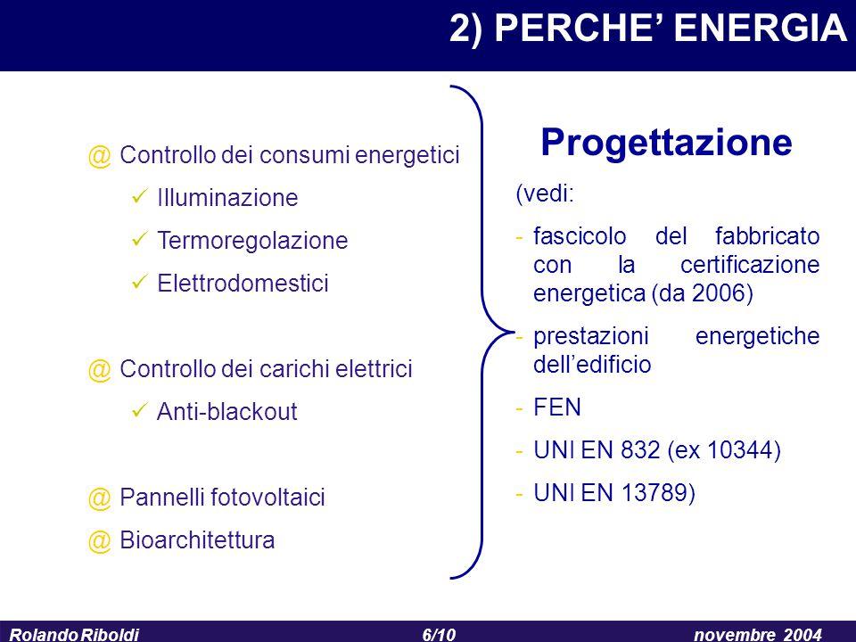 6/10 Rolando Riboldinovembre 2004 2) PERCHE' ENERGIA @Controllo dei consumi energetici Illuminazione Termoregolazione Elettrodomestici @Controllo dei