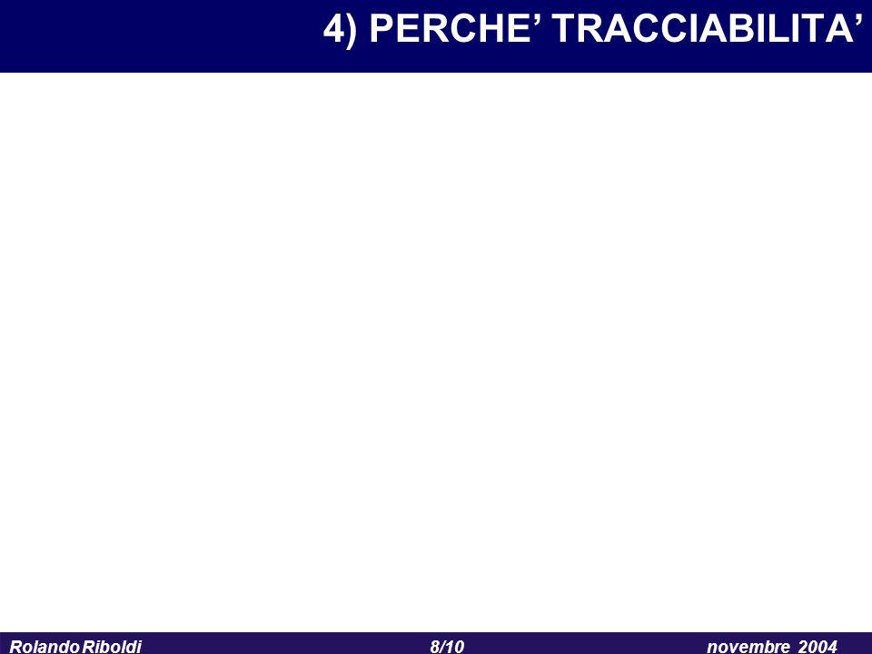8/10 Rolando Riboldinovembre 2004 4) PERCHE' TRACCIABILITA'