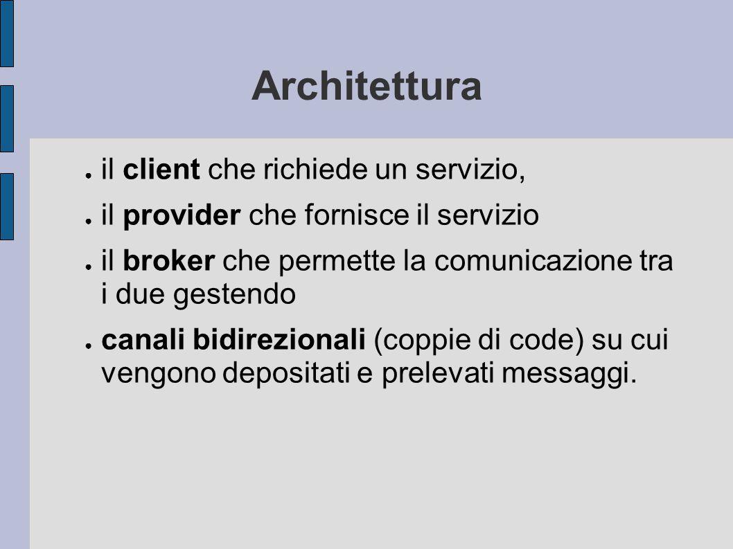 Architettura ● il client che richiede un servizio, ● il provider che fornisce il servizio ● il broker che permette la comunicazione tra i due gestendo ● canali bidirezionali (coppie di code) su cui vengono depositati e prelevati messaggi.