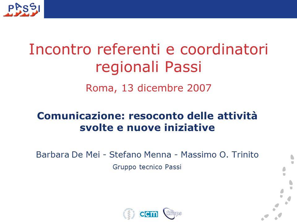 Incontro referenti e coordinatori regionali Passi Roma, 13 dicembre 2007 Comunicazione: resoconto delle attività svolte e nuove iniziative Barbara De Mei - Stefano Menna - Massimo O.