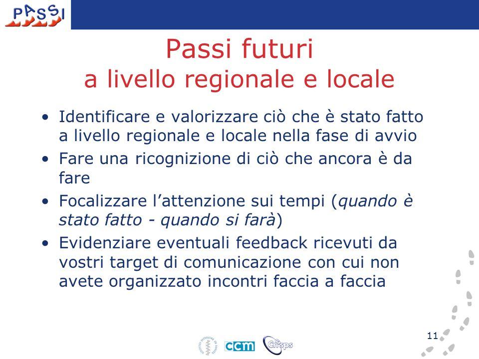 11 Passi futuri a livello regionale e locale Identificare e valorizzare ciò che è stato fatto a livello regionale e locale nella fase di avvio Fare un