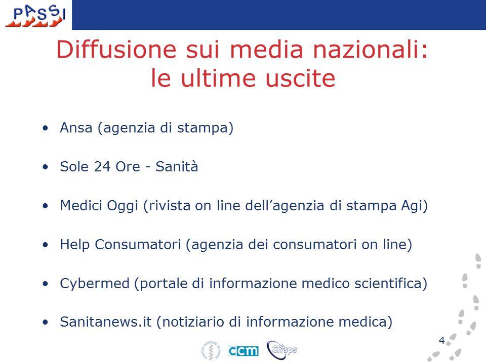 4 Diffusione sui media nazionali: le ultime uscite Ansa (agenzia di stampa) Sole 24 Ore - Sanità Medici Oggi (rivista on line dell'agenzia di stampa A