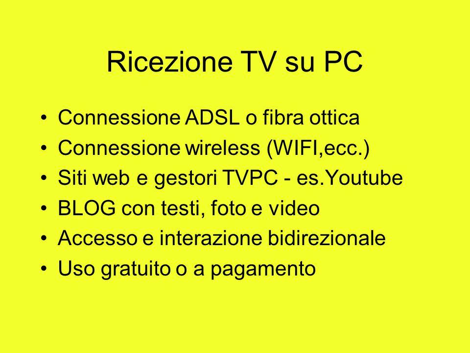 Ricezione TV su PC Connessione ADSL o fibra ottica Connessione wireless (WIFI,ecc.) Siti web e gestori TVPC - es.Youtube BLOG con testi, foto e video
