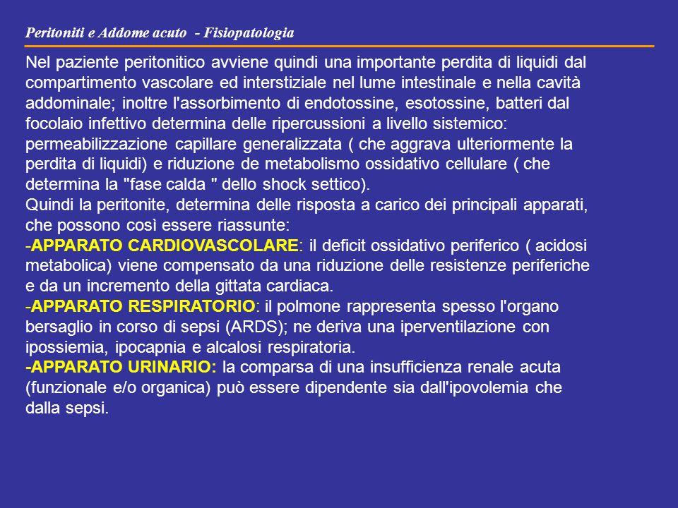 Peritoniti e Addome acuto - Fisiopatologia Nel paziente peritonitico avviene quindi una importante perdita di liquidi dal compartimento vascolare ed i