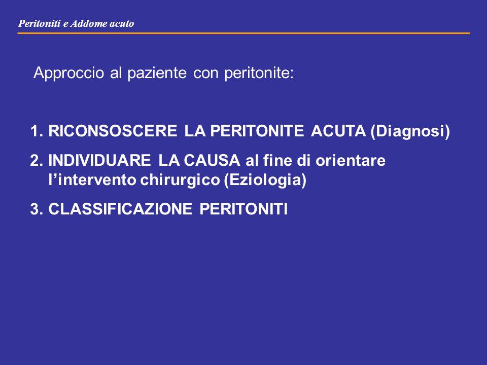 Peritoniti e Addome acuto Approccio al paziente con peritonite: 1.RICONSOSCERE LA PERITONITE ACUTA (Diagnosi) 2.INDIVIDUARE LA CAUSA al fine di orient