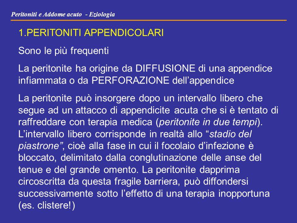 Peritoniti e Addome acuto - Eziologia 1.PERITONITI APPENDICOLARI Sono le più frequenti La peritonite ha origine da DIFFUSIONE di una appendice infiamm