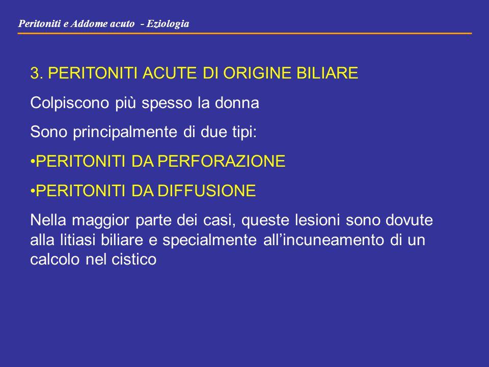 Peritoniti e Addome acuto - Eziologia 3. PERITONITI ACUTE DI ORIGINE BILIARE Colpiscono più spesso la donna Sono principalmente di due tipi: PERITONIT