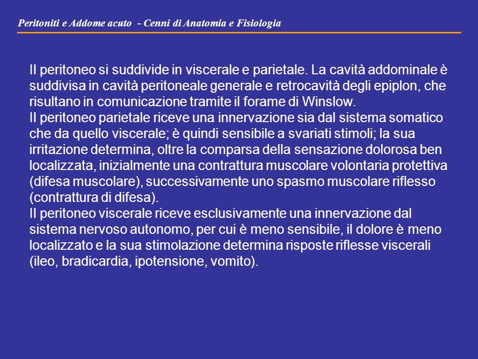 Peritoniti e Addome acuto - Cenni di Anatomia e Fisiologia Il peritoneo si suddivide in viscerale e parietale. La cavità addominale è suddivisa in cav
