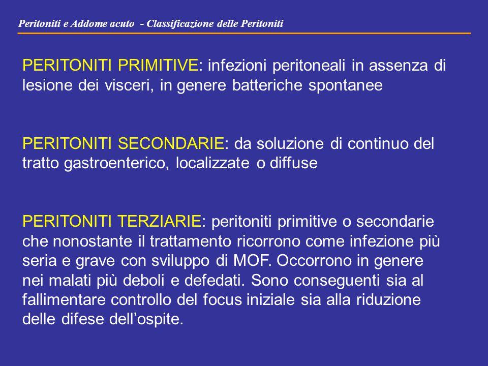 Peritoniti e Addome acuto - Classificazione delle Peritoniti PERITONITI PRIMITIVE: infezioni peritoneali in assenza di lesione dei visceri, in genere