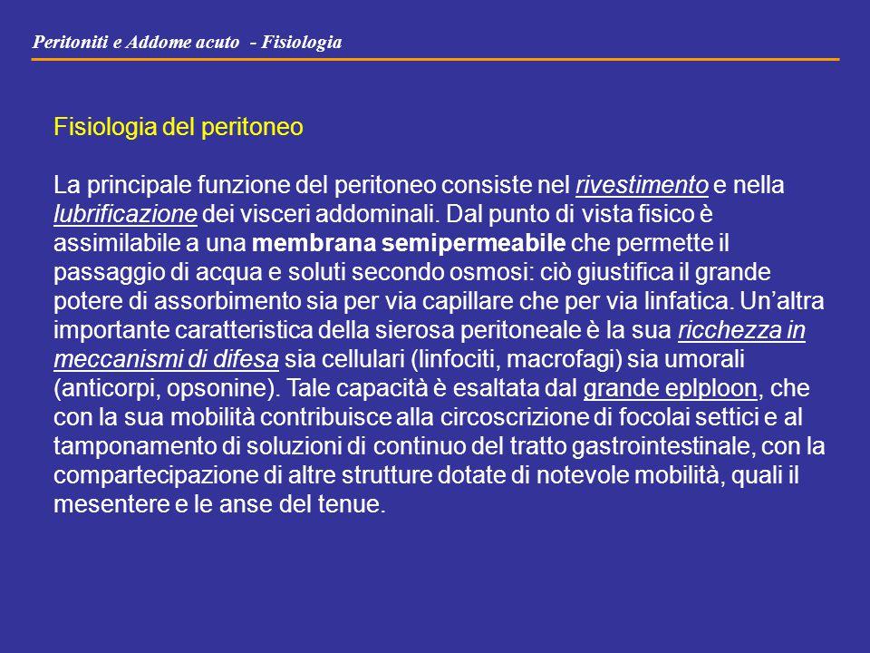 Peritoniti e Addome acuto - Fisiologia Fisiologia del peritoneo La principale funzione del peritoneo consiste nel rivestimento e nella lubrificazione