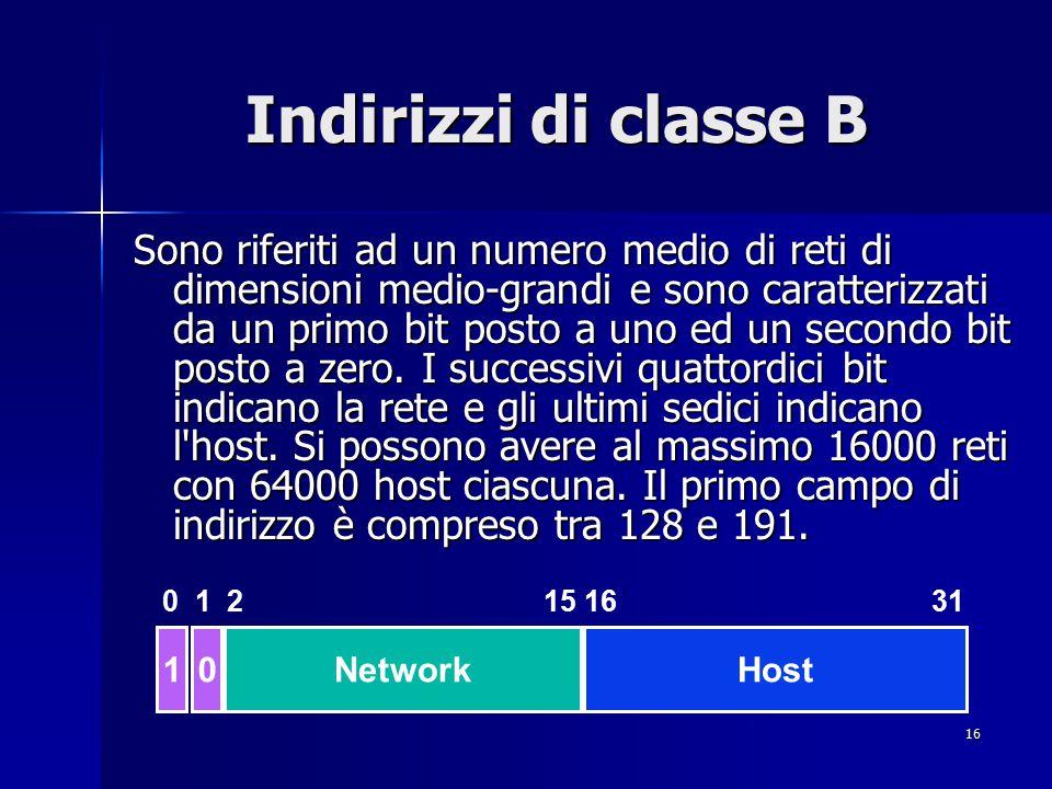 17 Indirizzi di classe C Sono riferiti a moltissime reti di dimensioni piccole e sono caratterizzati dai due primi bit posti a uno ed il terzo posto a zero.