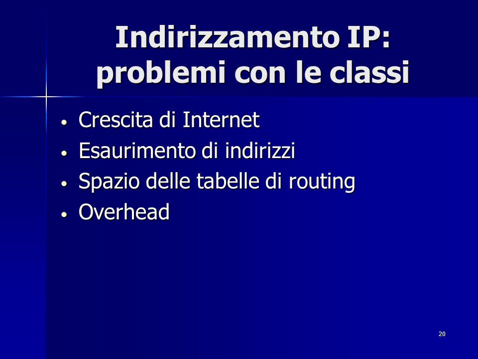 21 IPv6 - Il futuro prossimo La lunghezza degli indirizzi non sarà più di 32 bit ma di 128 bit.