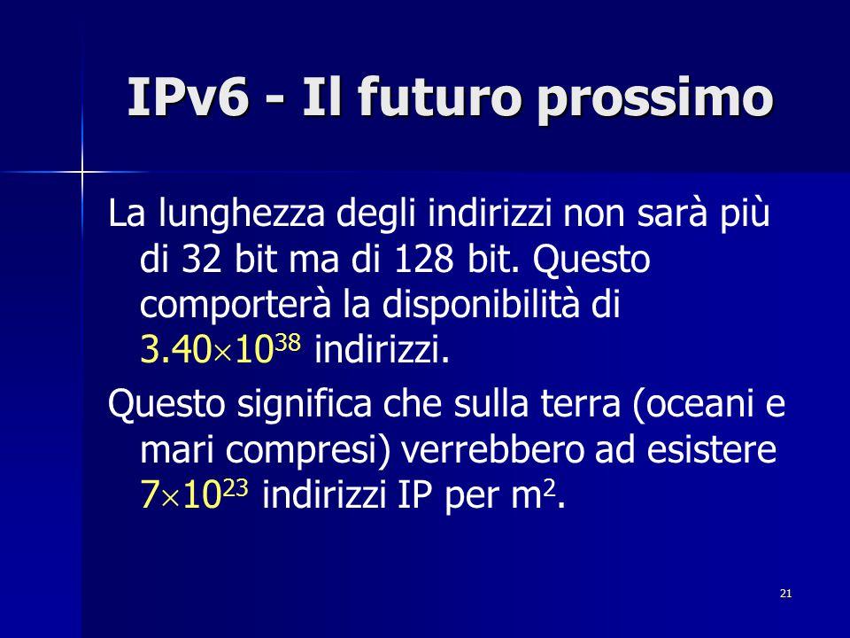 22 IPv6 - Il futuro prossimo Il formato dell'intestazione dei datagrammi è stato notevolmente semplificato.