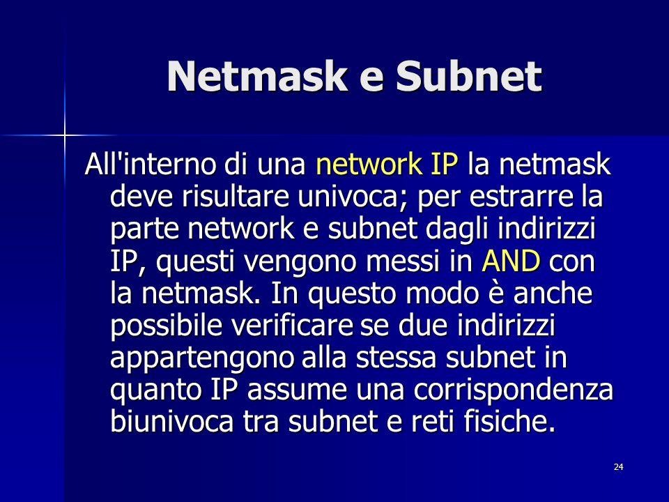 25 Netmask e Subnet Con l introduzione del concetto di subnet, il routing può risultare interno alla subnet o tra subnet.