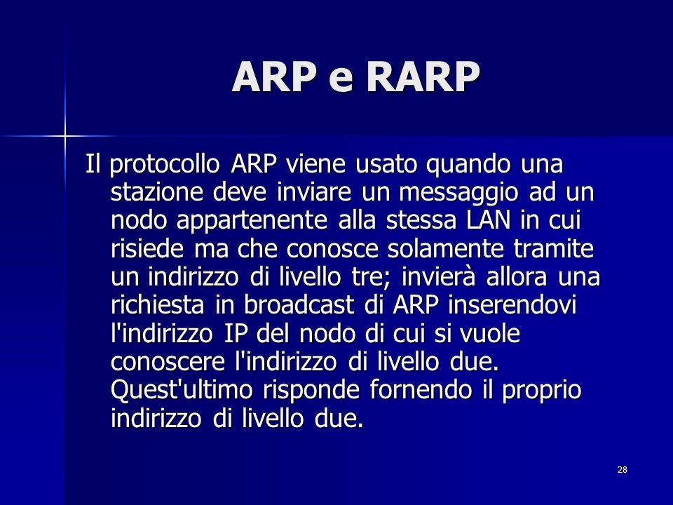 29 ARP e RARP Il protocollo RARP viene invece usato da stazioni diskless che, in fase di bootstrap, vogliono conoscere il loro indirizzo IP.