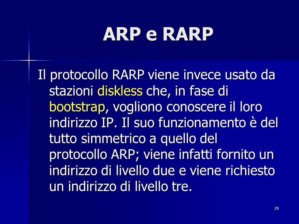 30 ARP e RARP Una miglioria nel protocollo ARP è quella apportata nell utilizzo, da parte dei nodi, di cache locali in cui vengono memorizzate, per un tempo massimo di 15 minuti determinato dal timestamp, le informazioni ricevute dal protocollo.