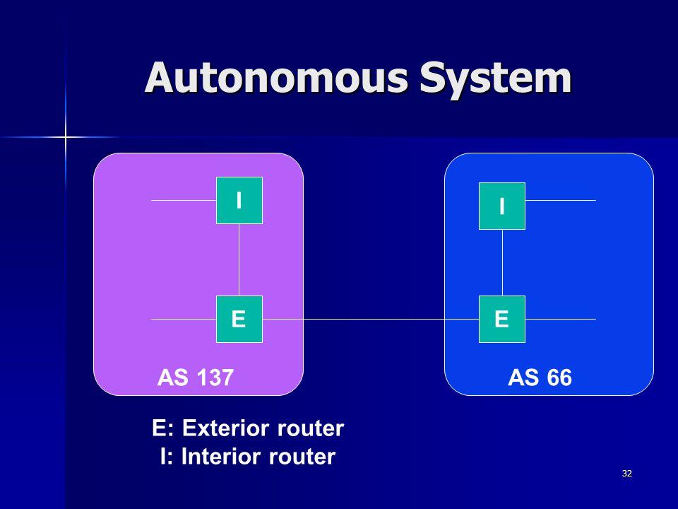 33 IGP e EGP EGP (Exterior Gateway Protocol) è un protocollo di routing usato da un exterior router in un autonomous system per annunciare gli indirizzi delle reti appartenenti all'autonomous system stesso.