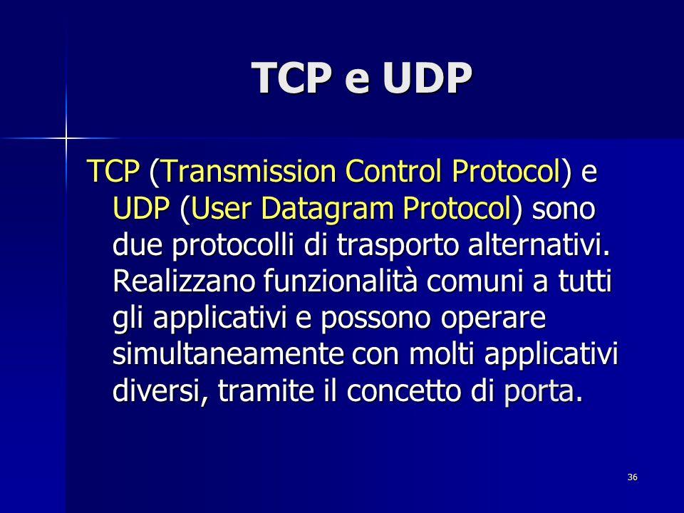 37 TCP e UDP: Porte Le porte sono il mezzo con cui un programma client, che risiede su un determinato elaboratore, indirizza un programma server presente su un altro elaboratore.