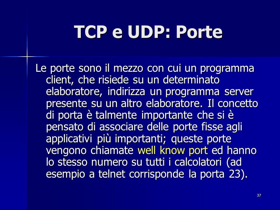 38 TCP TCP è un protocollo di trasporto di tipo connesso utilizzato da tutti quegli applicativi che richiedono la trasmissione affidabile dell informazione.